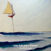 """On Golden Pond"" gentle surrealism of sailboat skimming acroos the pond by J. K. Crum"