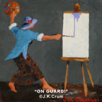 """On Guard"" 4x4 whimsical art by J. K. Crum"