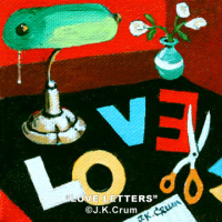 """Love Letters"" 4x4 whimsical painting by J. K. Crum"