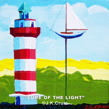 """The Lure of the Light"" 6x6 gentle surrealism by J. K. Crum of Hilton Head's Harbourtown light."