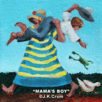 """Mama's Boy"" 4x4 whimsical art by J. K. Crum"