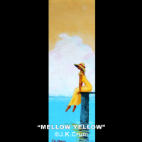 """Mellow Yellow"" 4x12 lady in yellow by J. K. Crum"