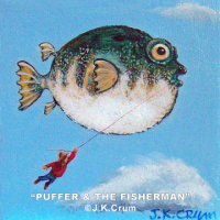 """Puffer and the Fisherman"" 4x4 whimsical surrealism by J. K. Crum"