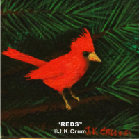 """Reds"" 4x4 painting of a cardinal by J. K. Crum"