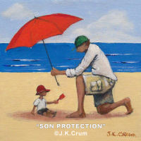 """Son Protection"" 4x4 painting by J. K. Crum"
