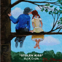 """A Stolen Kiss"" 4x4 whimsical art by J. K. Crum"