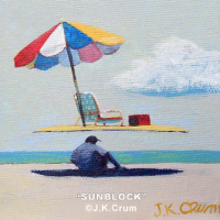 """Sun Screen"" 4x4 surrealism by J. K. Crum"