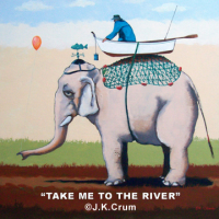 """Take Me To The River"" 36x36 surrealism by J. K. Crum"