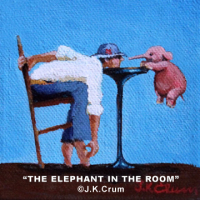 """The Elephant In The Room"" 4""x4"" gentle surrealism by J. K. Crum"