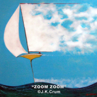 """Zoom Zoom"" 18x18 whimsical surrealism by J. K. Crum"