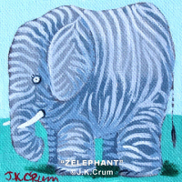 """Zelephant"" whimsical 4x4 painting by J. K. Crum"