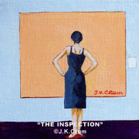 """The Inspection"" 4x4 whimsical painting by J. K. crum"
