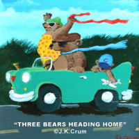 """Three Bears Heading Home"" whimsical painting by J. K. Crum"