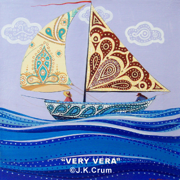 """Very Vera"" 12x12 gentle surreal sailboat by J. K. crum - now in Australia"