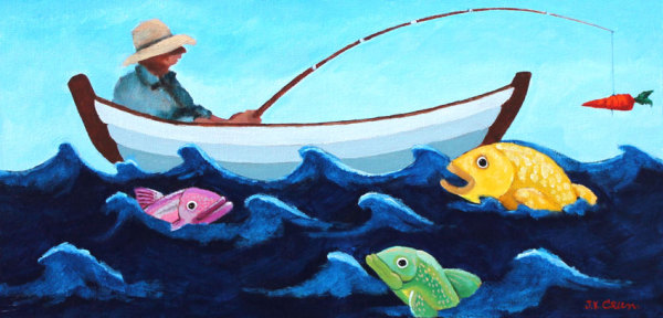 hilton head art, low country art, lowcountry artist, south carolina artist, fishing, boat, fish