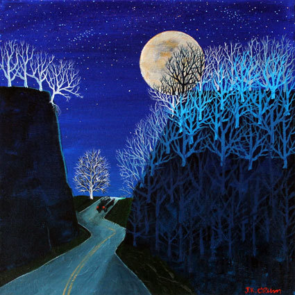 hilton head art, low country art, lowcountry artist, south carolina artist, Gently surreal night scene painting by J. K. Crum
