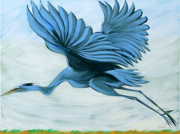 hilton head art, low country art, lowcountry artist, south carolina artist, Blue Heron flying, great blue heron, marsh painting by J. K. Crum