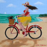 Beach riders, bicycle art by J. K. Crum
