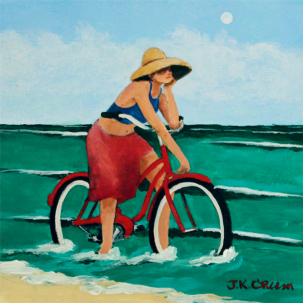 hilton head art, low country art, lowcountry artist, south carolina artist, surf, bike on beach, beach, bicycle, goirl on bike, seaside by John Crum