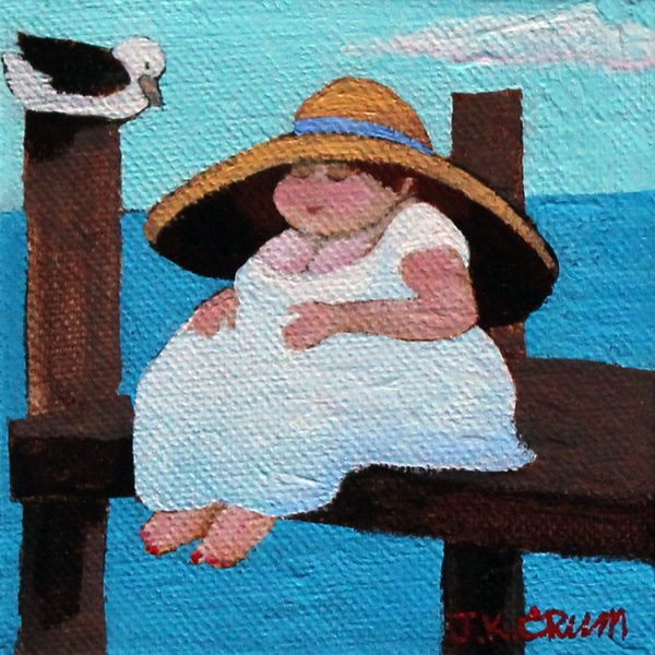 hilton head art, low country art, lowcountry artist, south carolina artist, nesting, girl on dock, sea gull nesting, woman nesting.