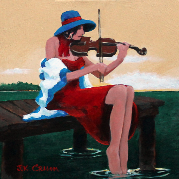 hilton head art, low country art, lowcountry artist, south carolina artist, violin, girl on dock, girl playing violin, painting by J.K.Crum