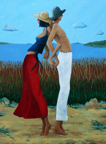 hilton head art, low country art, lowcountry artist, south carolina artist, young love, arm-in-arm