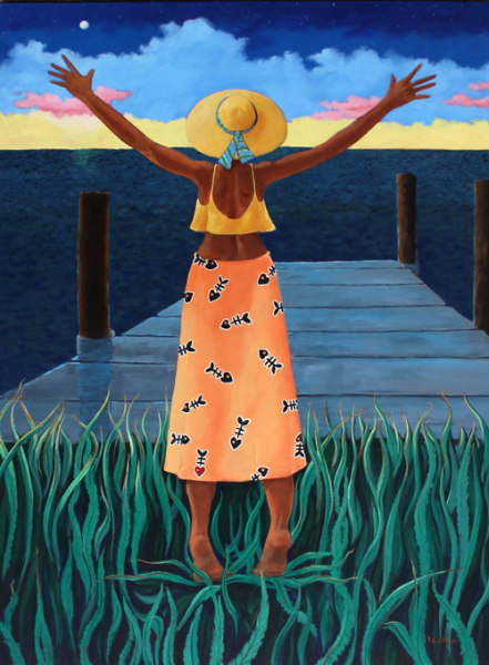 hilton head art, low country art, lowcountry artist, south carolina artist, evening sky, sunset, girl on dock, painting by J. K. Crum