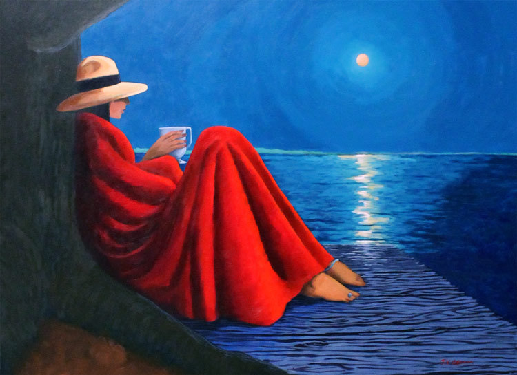 hilton head art, low country art, lowcountry artist, south carolina artist, lady in blanket, crispy evening air, snuggle