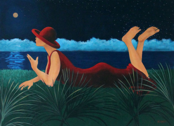 hilton head art, low country art, lowcountry artist, south carolina artist, moon, lady in red, watching night sky