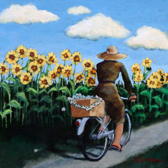 hilton head art, low country art, lowcountry artist, south carolina artist, outdoors, sunflowers, daisy, daisies, bicycle, girl on bike