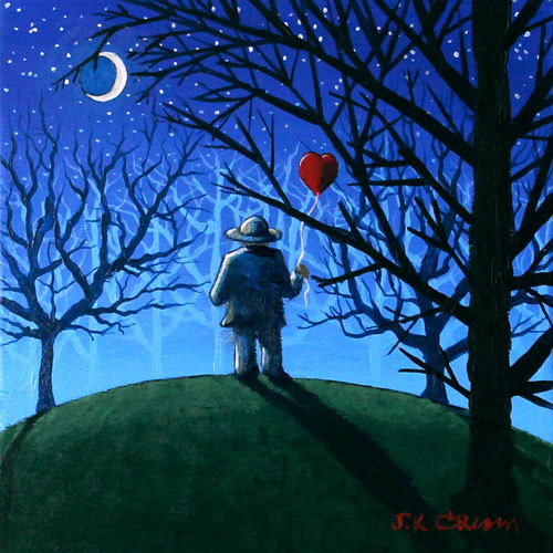 hilton head art, low country art, lowcountry artist, south carolina artist, lonely heart, heart balloon, love, lonely, moon