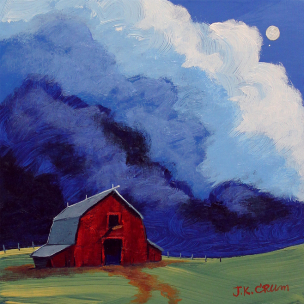 hilton head art, low country art, lowcountry artist, south carolina artist, red barn, storm clouds, full moon, rain, thunder, farm house