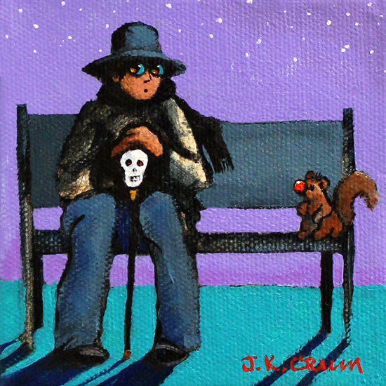 hilton head art, low country art, lowcountry artist, south carolina artist, Crazy Train, man on bench, wild eyes, squirrel, park bench