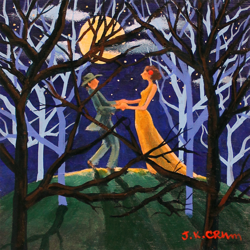 hilton head art, low country art, lowcountry artist, south carolina artist, lovers, full moon, forest, dancing, couple