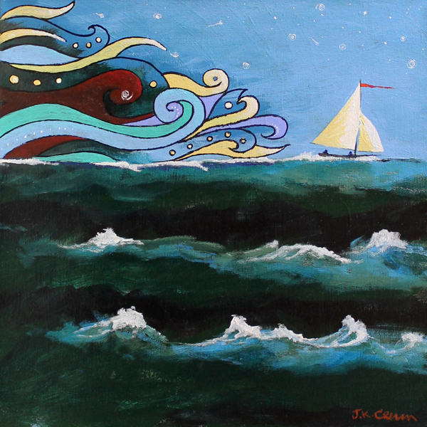 hilton head art, low country art, lowcountry artist, south carolina artist, hurricane, sailboat, seascape by John Crum