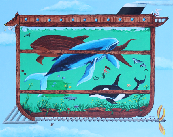hilton head art, low country art, lowcountry artist, south carolina artist, Noah's Ark, the ark, Noah, whales, ocean fish, mermaid, steam-punk ark, painting by John K. Crum