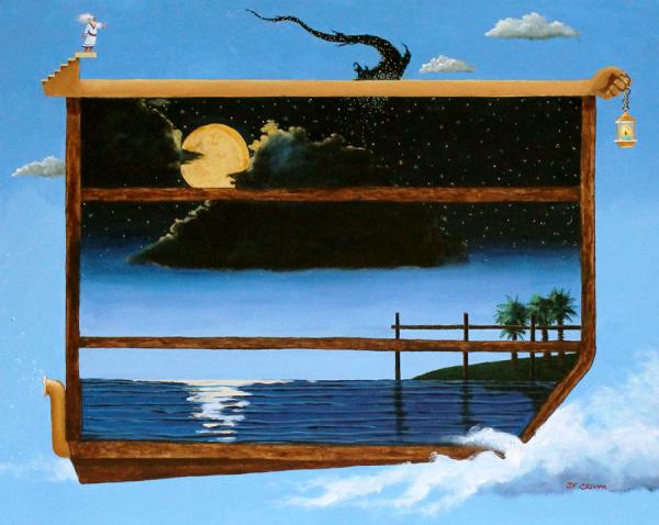 Noah, the ark, Noah's Ark, full moon,, moon, stars, hilton head art, low country art, lowcountry artist, south carolina artist,
