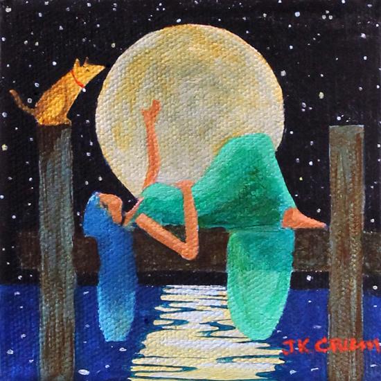 dock, full moon, dog on dock, woman on dock