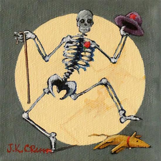 skeleton, dancing, dance, dancing skeleton, sleeping dog