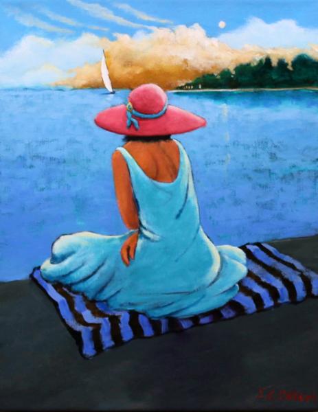 seashore, coastal art, coastline, woman on dock, dreamer, sailing, ocean