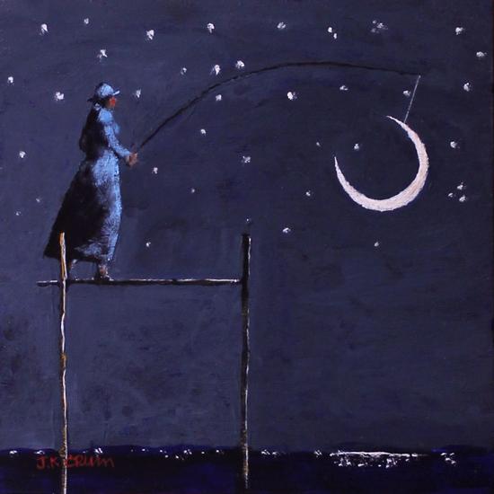 fishing, moon, evening, night sky