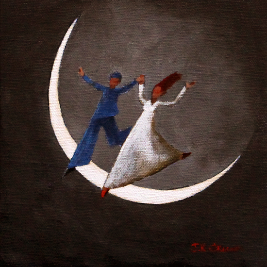 moon, couple, lovers, night scene