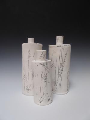 incised bottles, Pelin Hanley, 2015.