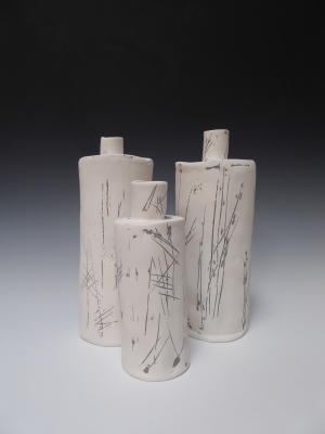 Incised bottles, Pelin Hanley Ceramics, 2013.