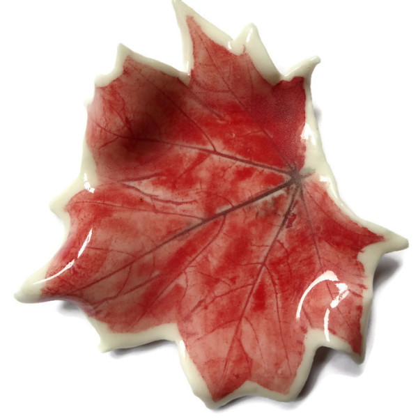 Porcelain, Ceramic, Red Autumn Leaf