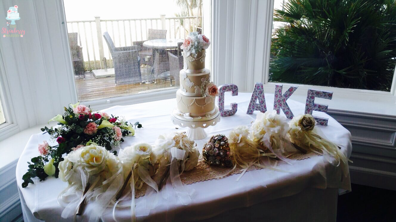 "=""ombre rose petal wedding cake"""