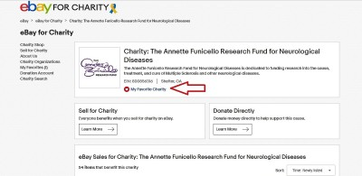 """1.  If you haven't already, you will first need to add AFRFND to your list of favorite charities by clicking the icon on our """"Ebay for Charity"""" page."""