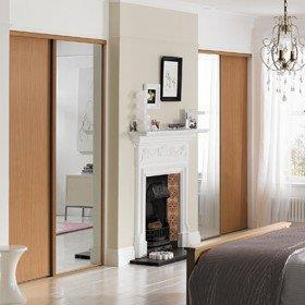 Chimney Breast Example with Beech Doors + Mirrors.