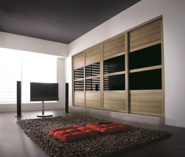 Oak Shaker Frames + Oak Panels and Black Glass.