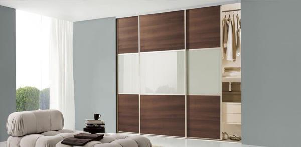 Aluminium Frames + Soft White Glass and Walnut Panels.